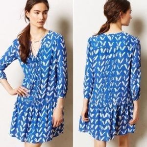 ANTHROPOLOGIE Maeve Caravane Blue Chevron Dress S